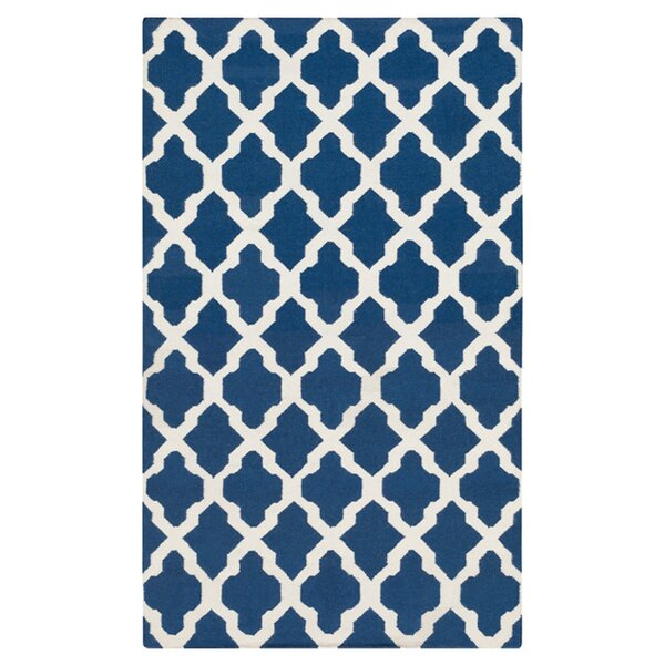 Bangor Navy Geometric Area Rug by Ebern Designs