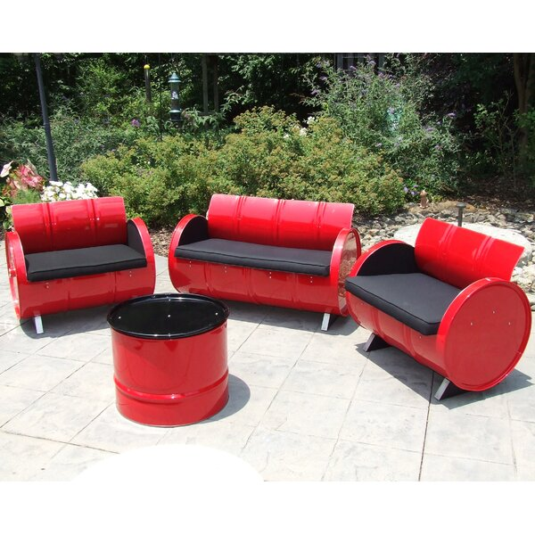 Rosabel 4 Piece Sunbrella Sofa Set with Cushions by Millwood Pines Millwood Pines