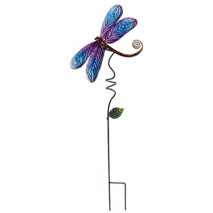 Hero Metal Dragonfly Garden Stake