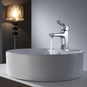 Virtus Ceramic Circular Vessel Bathroom Sink with Faucet and Overflow