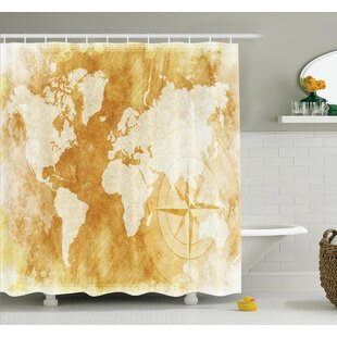 Old world shower curtain wayfair old fashioned world map shower curtain set sciox Gallery