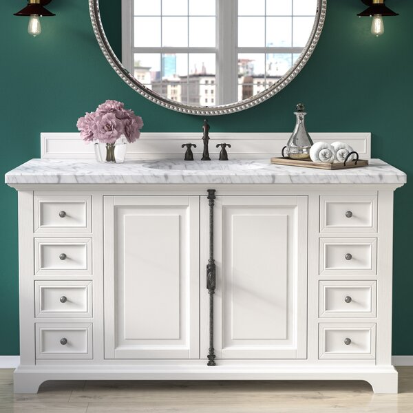 Ogallala 60 Single Undermount Sink Cottage White Bathroom Vanity Set by Greyleigh