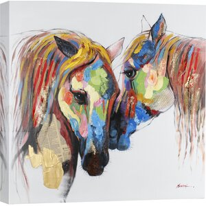 'Colored Horses' Painting Print on Wrapped Canvas by Hobbitholeco.