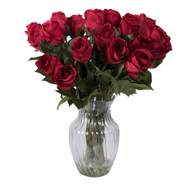 Darby Home Co Rose Arrangement With 24 Roses In Glass Vase Reviews
