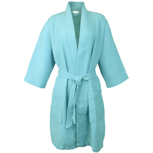 Thigh Length Kimono Cotton Blend Waffle Bathrobe by Bare Cotton