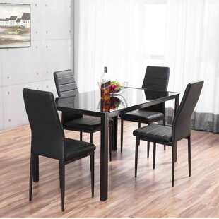 Rabin Glass Dining Set with 4 Chairs & Dining Table Sets Kitchen Table u0026 Chairs | Wayfair.co.uk
