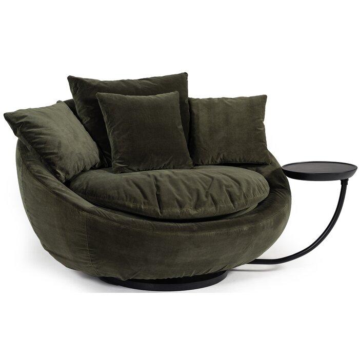 Joleen Modern Round Velvet Swivel Lounge Chair