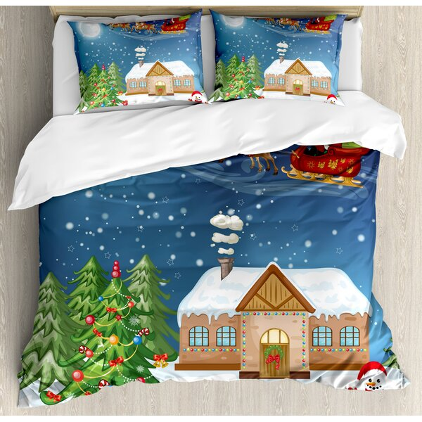 Christmas Classic Eve Scene Santa Delivering Gift with Rudolf the Nosed Reindeer Duvet Set by Ambesonne