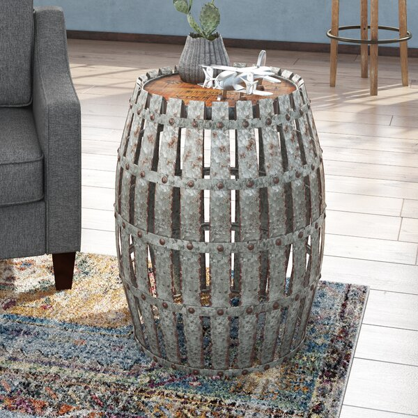 Gibbs Wood and Metal Barrel End Table by Trent Austin Design Trent Austin Design