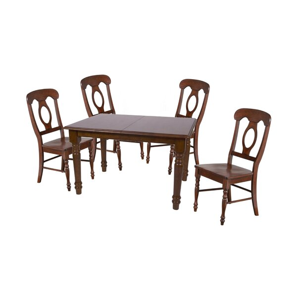 Lockwood 5 Piece Extendable Solid Wood Dining Set by Loon Peak
