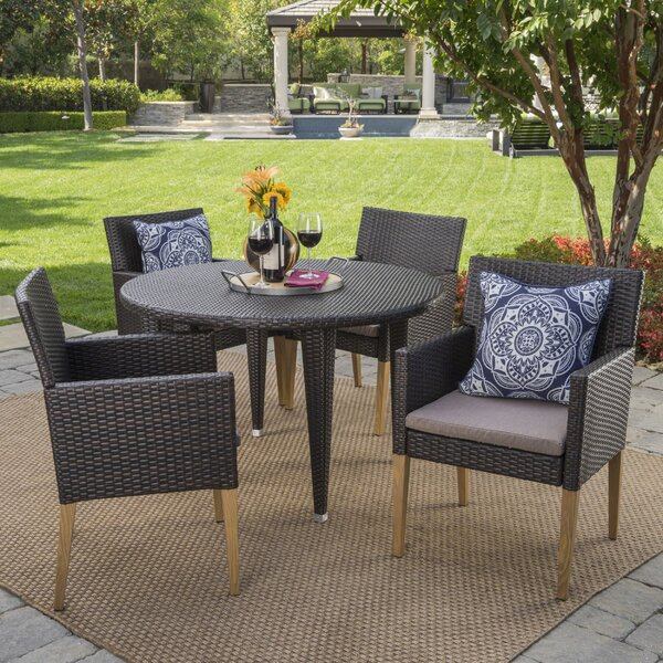 Mantooth 5 Piece Dining Set with Cushions
