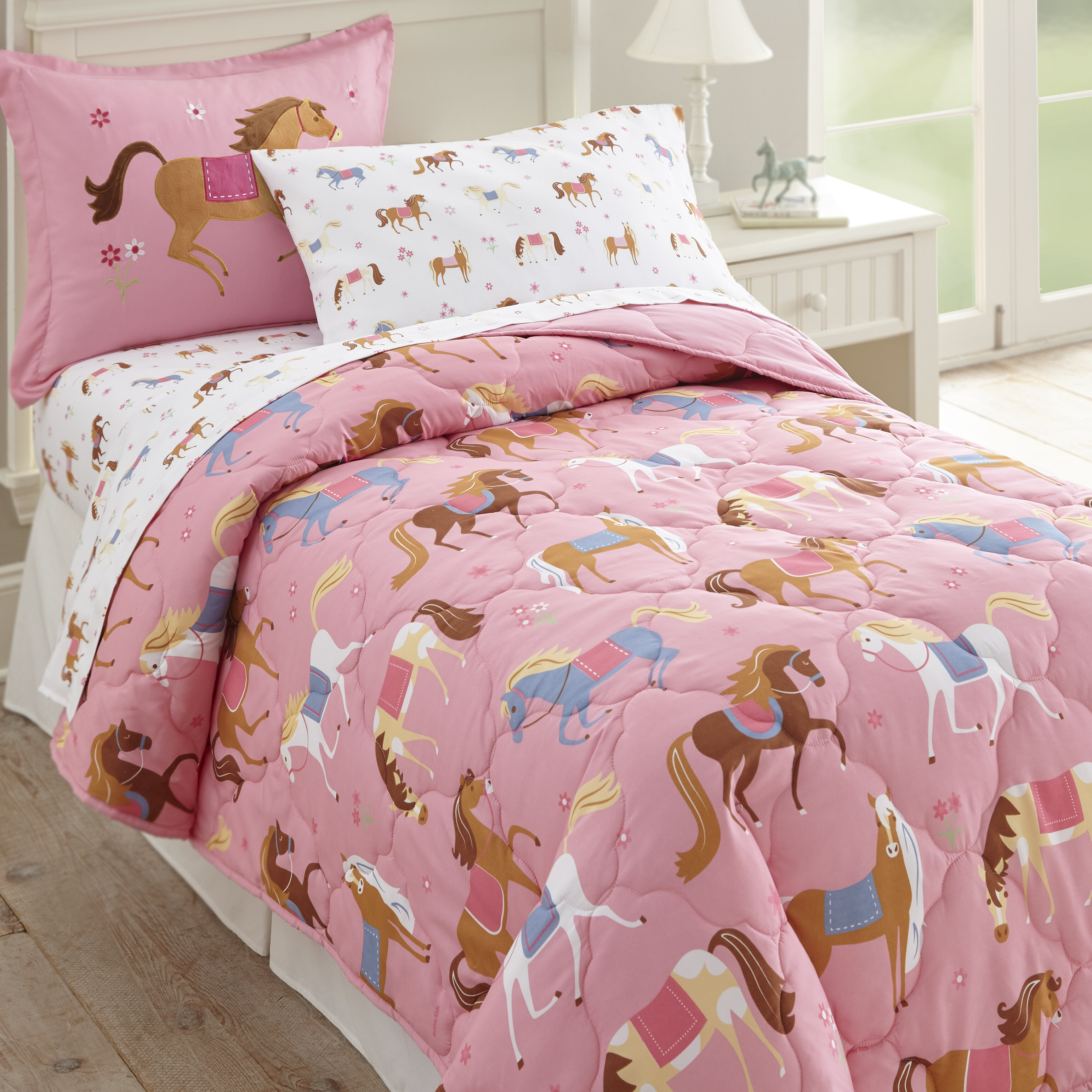 Pink Duvet Cover Microfiber Washable Cotton Quilt Cover Pillow Case Bedding
