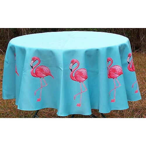 Flamingo Round Tablecloth by Betsy Drake Interiors
