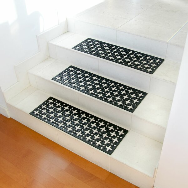 Stars Recycled Rubber Step Stair Tread Mat Set (Set of 6) by Rubber-Cal, Inc.