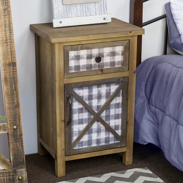 Delicia Décor Furniture Rustic Wooden Bedside End Table With Storage By Gracie Oaks