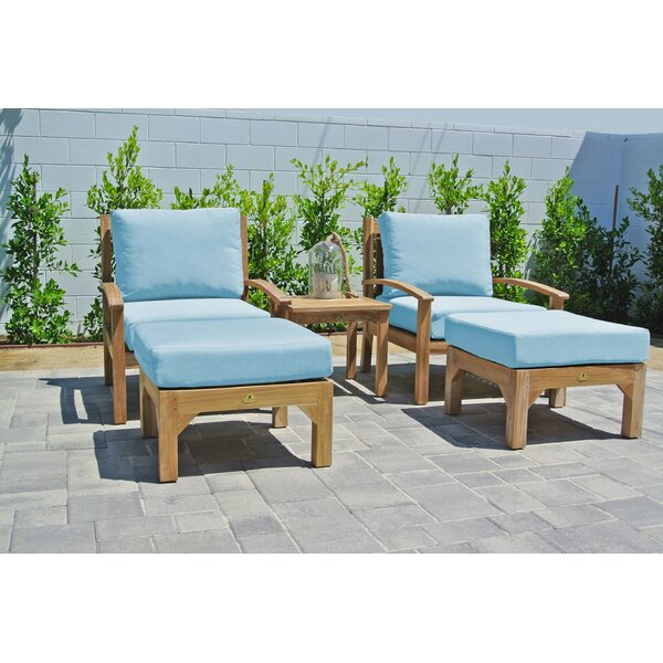 Crescio 5 Piece Teak Seating Group with Sunbrella Cushions by Foundry Select Foundry Select