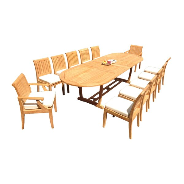 Sonora 13 Piece Teak Dining Set by Rosecliff Heights