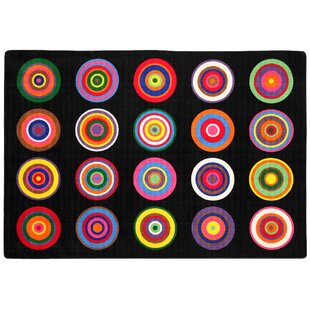 Top Reviews Color Rings Black/Pink Area Rug ByFlagship Carpets