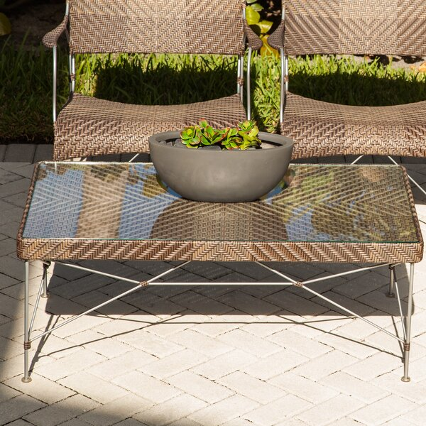 Zen Outdoor Glass Coffee Table by Bungalow Rose