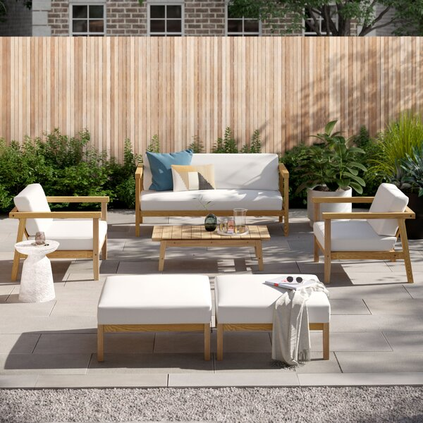 Annalese Outdoor Patio 6 Piece Teak Sofa Seating Group with Cushions by Foundstone