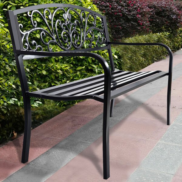 Hartwig Patio Park Cast Iron Garden Bench by Fleur De Lis Living