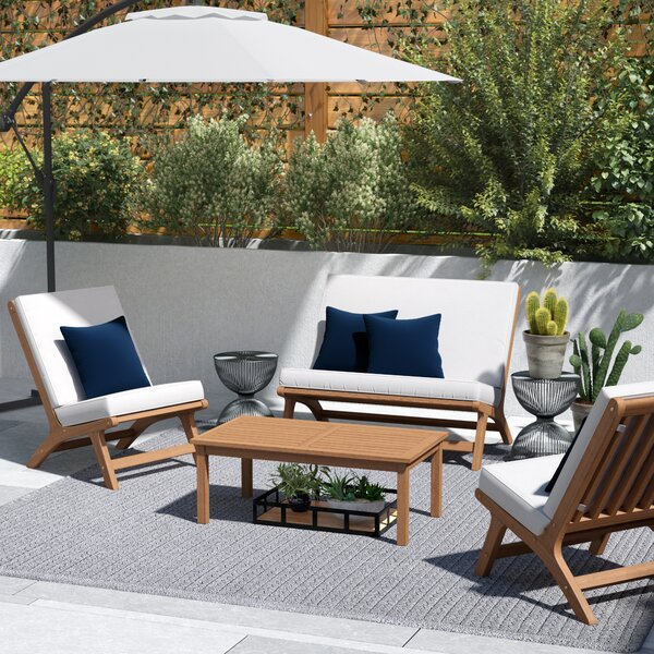 Cortney 4 Piece Sofa Seating Group with Cushions by Trent Austin Design