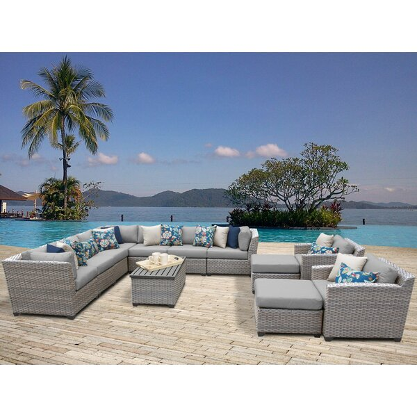 Merlyn 13 Piece Rattan Sectional Seating Group With Cushions By Sol 72 Outdoor