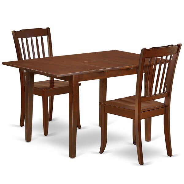 Kulikowski 3 Piece Extendable Solid Wood Dining Set by August Grove