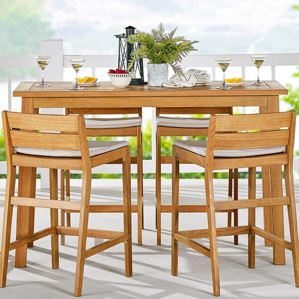 Kamden Bar Height 5 Piece Dining Set with Cushions by Foundry Select