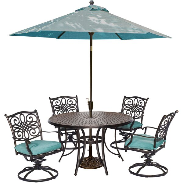 Lauritsen 5 Piece Swivel Dining Set with Cushions by Three Posts