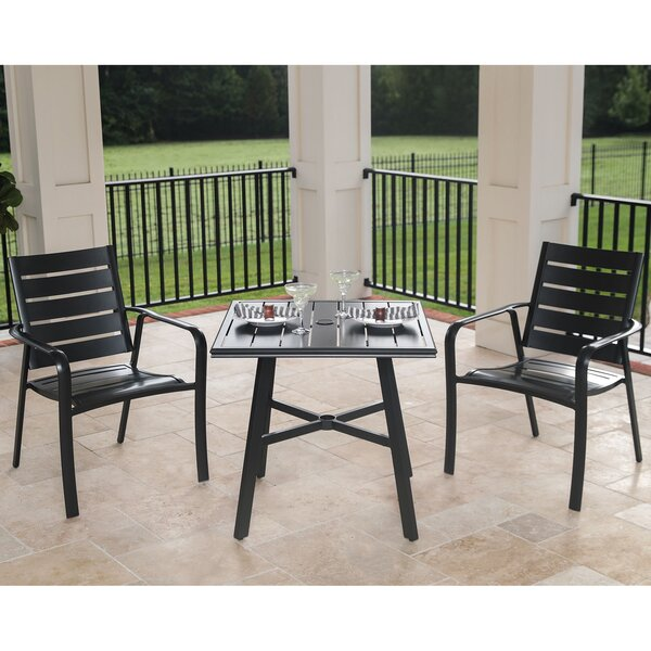 Colson 3-Piece Commercial-Grade Bistro Set with 2 Aluminum Slat-Back Dining Chairs and a 30 inch  Slat-Top Table by Gracie Oaks