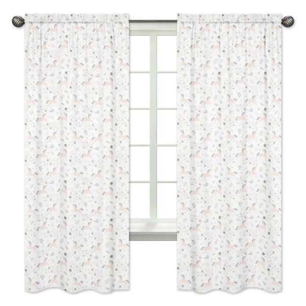 Unicorn Semi-Sheer Rod Pocket Curtain Panels (Set of 2) by Sweet Jojo Designs