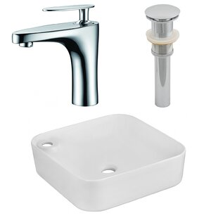 Read Reviews Ceramic Square Vessel Bathroom Sink with Faucet ByRoyal Purple Bath Kitchen