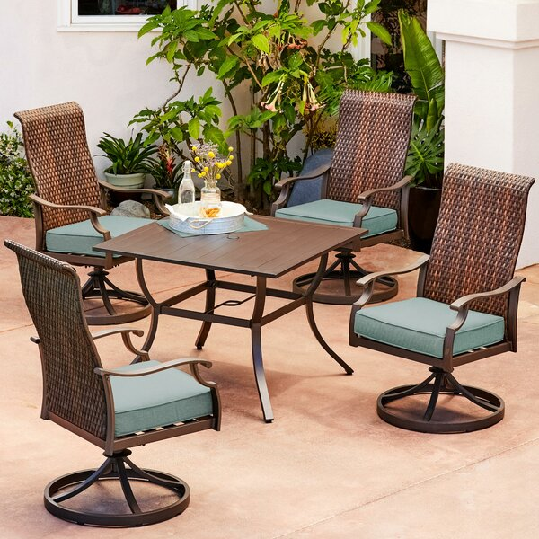 Kinlaw Rhone Valley 5 Piece Dining Set with Cushions by Bayou Breeze