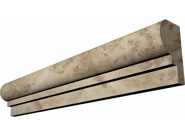 2 x 12 Marble Ogee Chairrail Accent Tile in Cappuccino by Parvatile