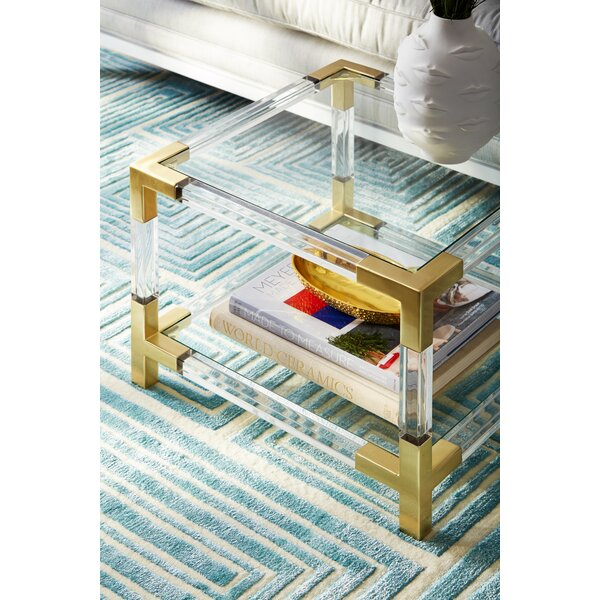 Jacques Glass Top End Table With Storge By Jonathan Adler