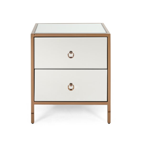 Kaitlin Glam Mirrored 2 Drawer Accent Chest by House of Hampton House of Hampton