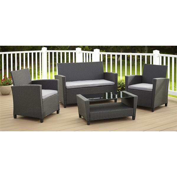 Feltonville 4 Piece Rattan Sofa Seating Group With Cushions By Wrought Studio