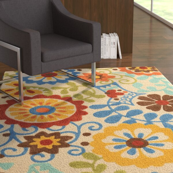 Beaded Hand-Tufted Blue/Beige/Yellow Area Rug by Ebern Designs