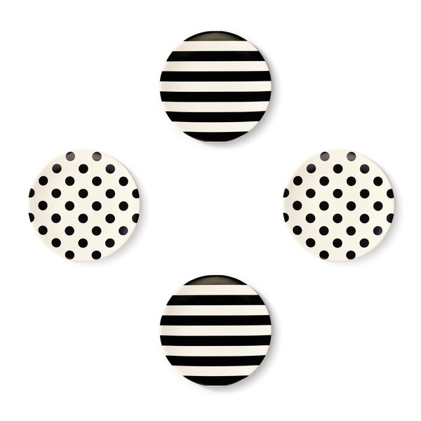Raise a Glass Tidbit Plate Set (Black & White) by