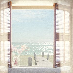 'View Through Shutters' Painting Print