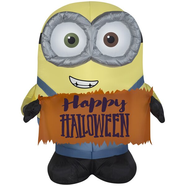 Bob Holding Halloween Sign MD Universal (WM) Inflatable by The Holiday Aisle