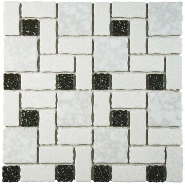 Pallas Random Sized Porcelain Mosaic Tile in White/Black by EliteTile