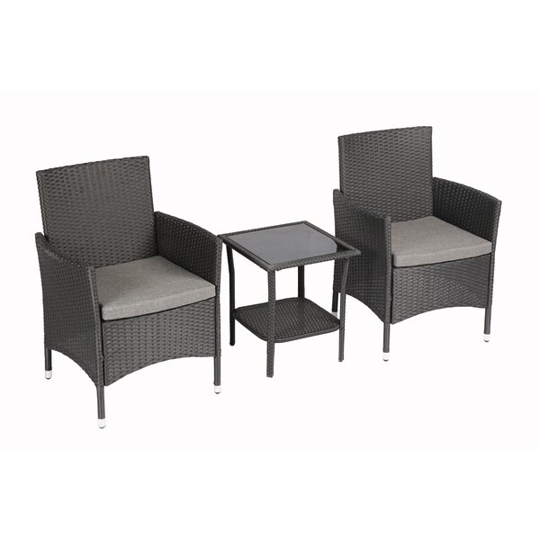Bridgette Outdoor Complete 3 Piece Rattan Seating Group with Cushions by Andover Mills