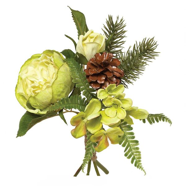Holiday Silk Wrapped Peony and Hydrangea Bundle with Pinecone and Foliage (Set of 2) by ZiaBella