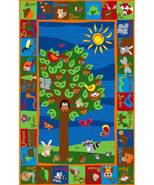 Forest Animal Alphabet Multi Colored Area Rug by K