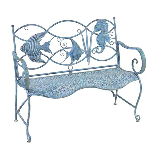 Dash Fish and Seahorse Back Metal Bench by Highland Dunes