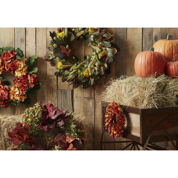 22 Yarrow and Wheat Wreath by Dried Flowers and Wreaths LLC