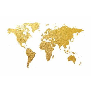 World map wall art world map series gold foil on white graphic art on wrapped canvas gumiabroncs Images