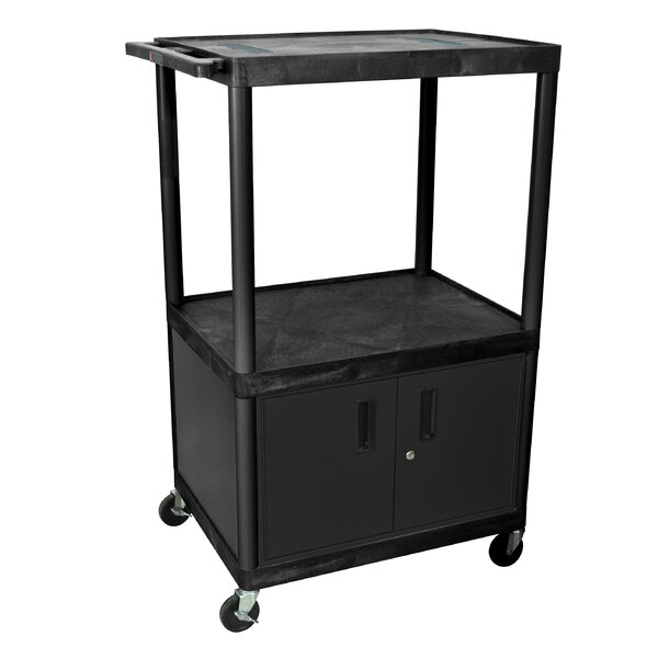Open Shelf Endura Video AV Cart with Locking Cabinet by Luxor